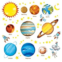 Decowall Planets in The Space Kids Wall Decals Wall Stickers Peel and Stick Removable Wall Stickers for Kids Nursery Bedroom Living Room(1307/L 8007)