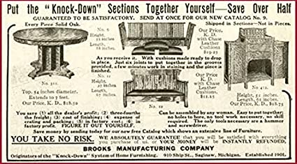 Admirable Amazon Com 1909 Ad For Saginaw Mi Brooks Knock Down Inzonedesignstudio Interior Chair Design Inzonedesignstudiocom