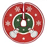 Primode Xmas Tree Skirt 30'', Woven Jacquard Green Center with Red Wide Border, Snowman, Snowflakes, and Stars Design, Holiday Tree Decoration