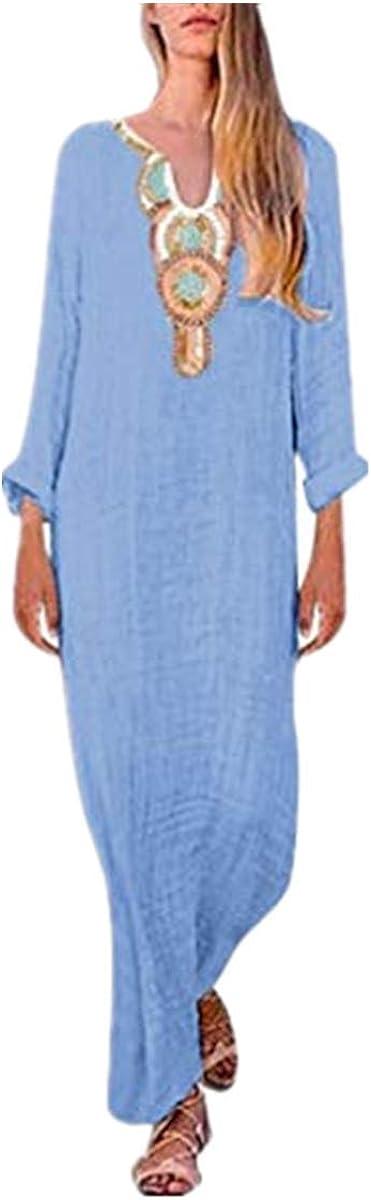 Reooly Estampado con Cuello en U, Vestido de Manga Larga para Mujer, Dobladillo Dividido, Vestido Suelto de Manga Larga y Pelo Largo