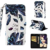 Firefish Case for Galaxy J7 (2017)/J720,Premium PU Leather 3D Printing Wallet Case Inner Soft Bumper with Durable Magnetic Closure & Wrist Strap Compatible with Samsung Galaxy J7 (2017)/J720 -Feather
