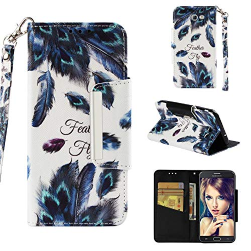 (Firefish Case for Galaxy J7 (2017)/J720,Premium PU Leather 3D Printing Wallet Case Inner Soft Bumper with Durable Magnetic Closure & Wrist Strap Compatible with Samsung Galaxy J7 (2017)/J720 -Feather)
