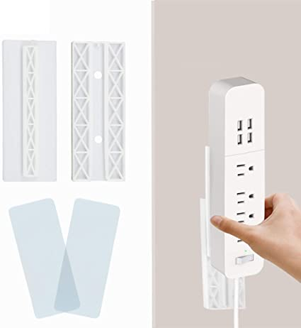 Lezed Power Strip Fixator Self Adhesive Power Strip Wall Mount Holder Punch Free Remote Control Holder for Socket Tissue Box WiFi Router Fixator Home Office 5 Pcs