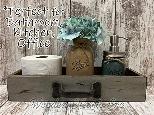 - DRAWER with METAL Handle *Quart Mason Canning Jar, Flower, Soap Dispenser (optional), Distressed Wood Tray *BEAUTIFUL Bathroom decor for toilet tank, counter, kitchen table, and more! 15.75