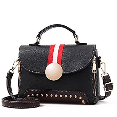 0b2a0f9460da2 Vismiintrend Girlish Rivet Handbag Sling Bag Shoulder Bag for Girls Women - Black   Gift for