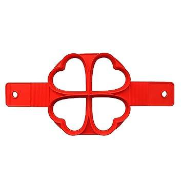 CCINEE - Molde de silicona para tortitas con forma de corazón, color rojo