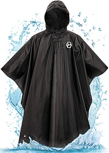 Foxelli Hooded Rain Poncho - Waterproof Emergency Military Ponchos for Adults
