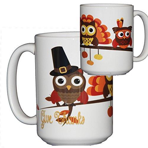 Thanksgiving Coffee Mug Hostess Gift Adorable Cartoon Owls on a Tree Branch