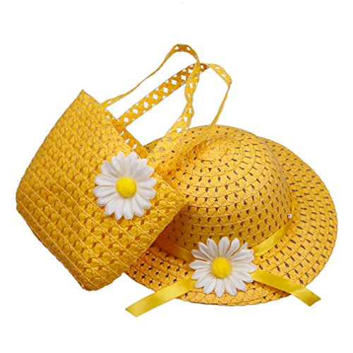 Elee Cute Baby Girl Kids Straw Flower Sun Cap Child Summer Sunhat and Handbag Set (#3 Yellow) ()