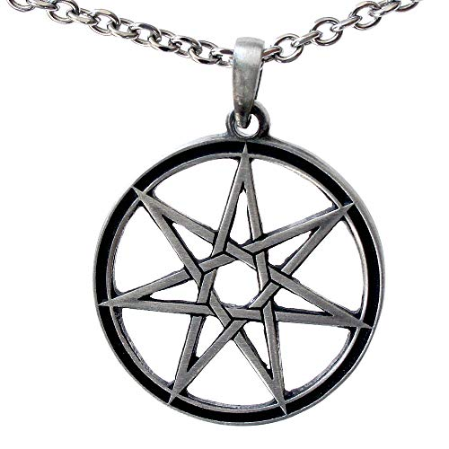 Pewter Star Charm - OhDeal4U Septagram 7 Pointed Fairy Star Heptagram Pewter Pendant Charm Amulet w Necklace (Stainless Steel Chain)