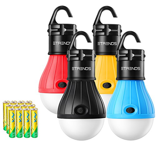 2 Pack/4 Pack E-TRENDS Compact LED Lantern Tent Camp Light Bulb for Camping Hiking Fishing Emergency Lights, Battery Powered Portable Lamp (Multi color, 4 count)