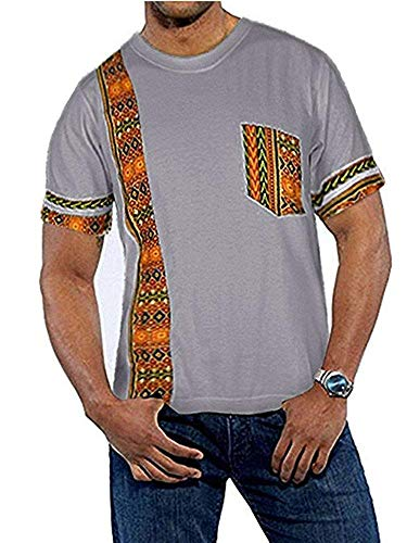 Makkrom Mens African Tribal Dashiki Floral Short Sleeve Graphic T Shirt Blouse Tops D-Grey ()