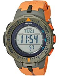 Casio Mens ProTrek Triple Sensor Quartz Resin Watch, Color:Orange (Model: PRG-300-4CR)