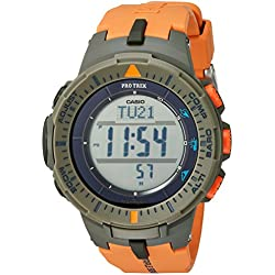 Casio Men's 'ProTrek Triple Sensor' Quartz Resin Automatic Watch, Color:Orange (Model: PRG-300-4CR)
