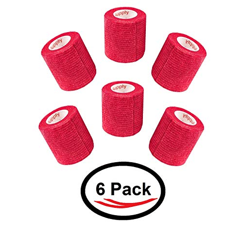2 Inch Vet Wrap Tape Self Adhesive Medical Bandage Free Bonus Roll (Red) (5 Pack Plus Free Roll) Self Adherent Cohesive First Aid Sport Flex Wrist Ankle Knee Sprains and Swelling