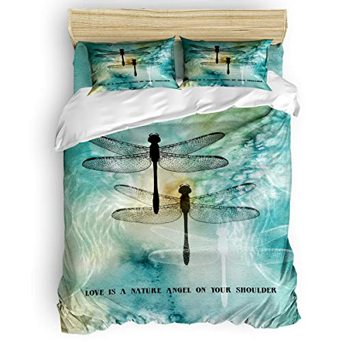 (Yogaly Home Bedding Set 4 Pieces Queen Size for Adults/Teens/Children/Baby Dragonfly Love is a Nature Angel on Your Shoulder Printed Bed Sheets, Duvet Cover, Flat Sheet, Pillow)