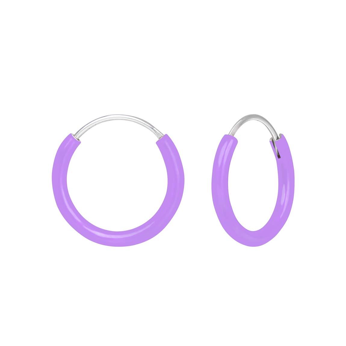 925 Sterling Silver Light Purple Hoop Earrings