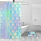 Bright Fish Shower Curtain YZGO Bright Fish Scale Beautiful Mermaid Siren Sea Shower Curtain Polyester Fabric Bathroom Curtain Set with Mats Rugs-12 Hooks