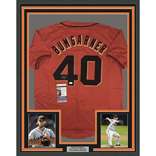 Framed Autographed/Signed Madison Bumgarner 33x42 San Francisco Orange Baseball Jersey JSA COA