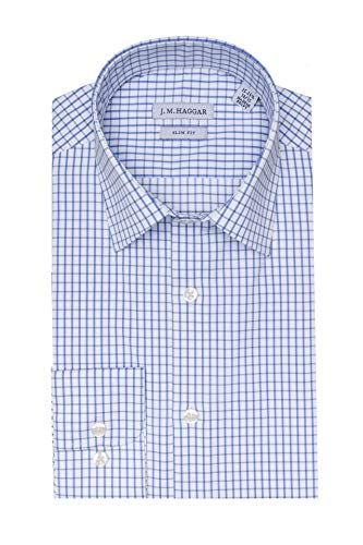 Blue Check Dress - Haggar Men's Premium Performance Slim Fit Dress Shirt, White W/Blue Check, 15-15.5 32-33