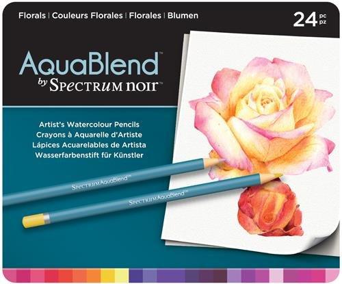 Aquablend by Spectrum Noir NEW 24pc Pencil Tin - Florals