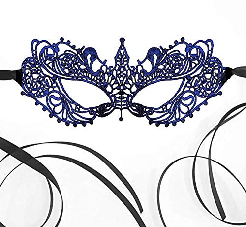 Genuine White Lace Elegant Mask for Masquerade Prom Halloween Carnival Mask Ball (Sapphire Blue) ()