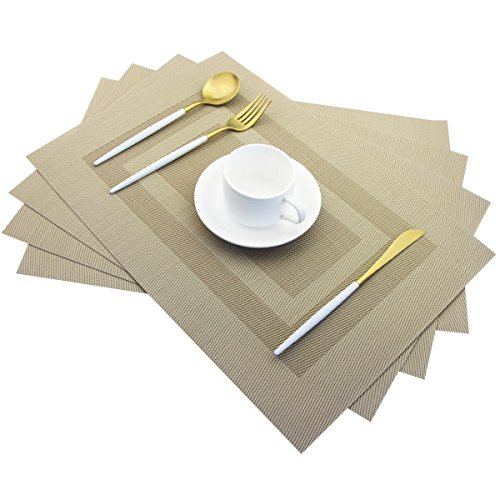 Placemats,Heat Insulation Non Slip Plastic Placemats,Washable Easy to Clean Woven Vinyl Kitchen Stain Resistant Plcaemats for Dining Table Set of 4(Beige)
