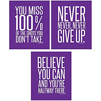 Motivational Inspirational Famous Quotes Teen Boy Girl Sports Wall Art Posters Decorative Prints Workout Fitness Wall Decor Home Office Business (8 x 10 Purple)