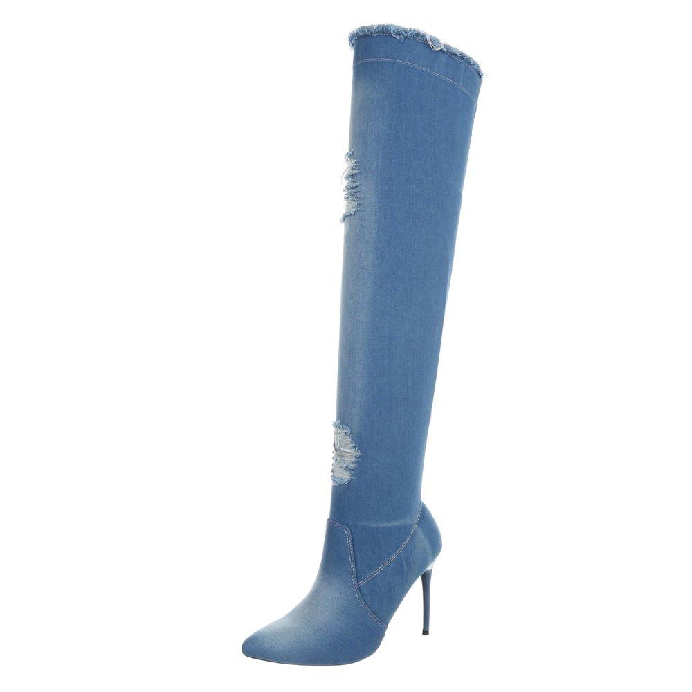 Ital-Design Chaussures Femme Bottes et et Bottines Aiguille Aiguille Bottes Cuissardes 13743 Lumière Bleue Od-218 d1df232 - automatisms.space