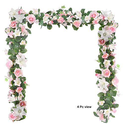 6 Feet Artificial Rose and Lily Garland, Artificial Silk Rose Lily Flower Ivy Vine Leaf Hanging Garland Wreath Garland for Home Wedding Wall Decor Lily (Pink)
