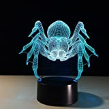 Circle Circle Animal Spider Shape 3D Optical Illusion Lamp 7 Colors Change and 15 Keys Remote Control LED Night Light Toys