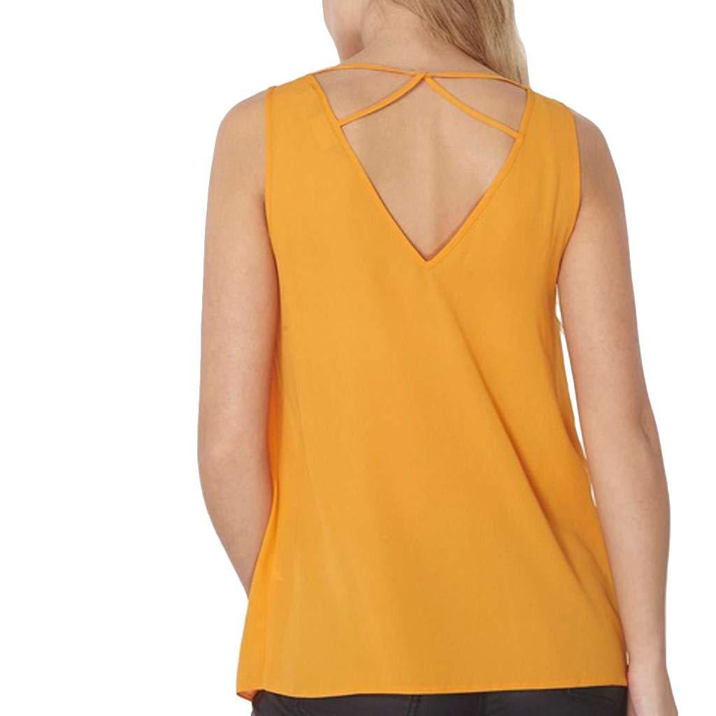 Chaleco de Mujer Camiseta Sin Mangas Color sólido Cuello en v ...