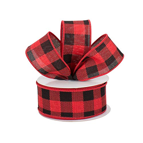"Red Black 2 1//2/"" x 10 Yards Valentine/'s Day Buffalo Plaid Wired Ribbon"