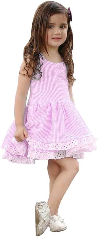 Imagen deK-youth Vestido Niña, Lindo Rayas Vestido para Niñas Sin Mangas Casual Princesa Vestir Infantil de Fiesta Verano