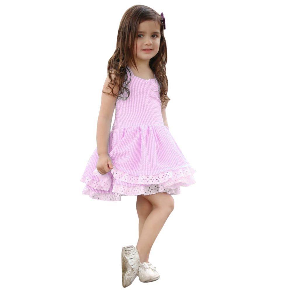 Little Girls Dresses, Toddler Summer Dress Sleeveless lace Strap Backless Sundress Size 1-5Y (5T, Pink)