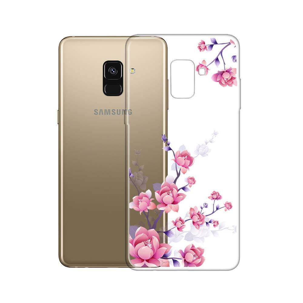 Bubunix Custodia in Silicone Compatibile con Samsung Galaxy A8 2018 Piccoli Fiori Trasparente in Silicone Crystal Clear TPU Bumper Back Cover per Samsung Galaxy A8 Style 3