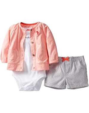 Sweet Apricot 3-Piece Cardigan & Short Set