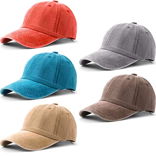 Norme 5 Pieces Unisex Vintage Washed Distressed Baseball Hat Baseball Cap Twill Adjustable Dad Hat (Color 2)