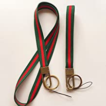Soft Woven Stripe Neck Lanyard and Hand Wrist Strap Keychain for Keys,Cell Phone,Camera,ID Name Badge Etc Device, With Polished Bronze Hook and Key Ring.1 Set contains 1 Neck Strap and 1 Wrist Strap (Green/Red)