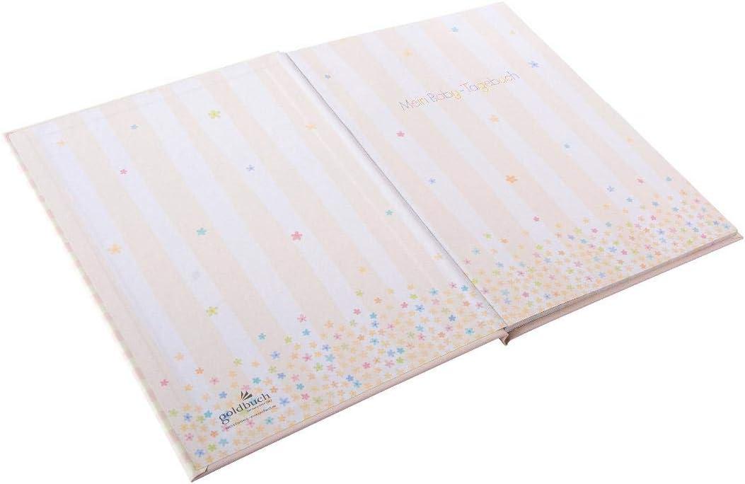 44/Pagine illustrate Senza Pergamena Blu Rosa Goldbuch Baby Diario per Ragazzi Cartone 11446 21 x 28 cm Stampa con Rilievo Rilievo e Oro Adebar Blu 21/x 28/cm