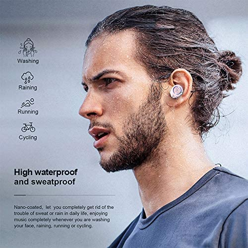 True Wireless Earbuds V5.0 Bluetooth Earbuds Waterpoof LED Sports in-Ear Wireless Headphones,HD Stereo Sound Bluetooth Wireless Earphone with Charging Case (Pink)