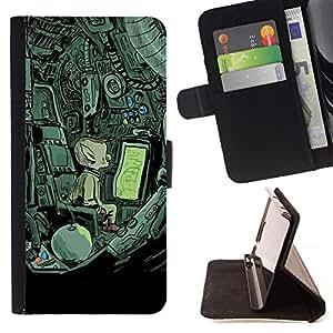 Momo Phone Case / Flip Funda de Cuero Case Cover - Nave espacial extranjera misteriosa Dibujo - Samsung Galaxy S4 IV I9500