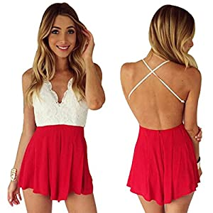 Moxeay Deep V Neck Playsuit Backless Chiffon Short Jumpsuit (US Shipping)