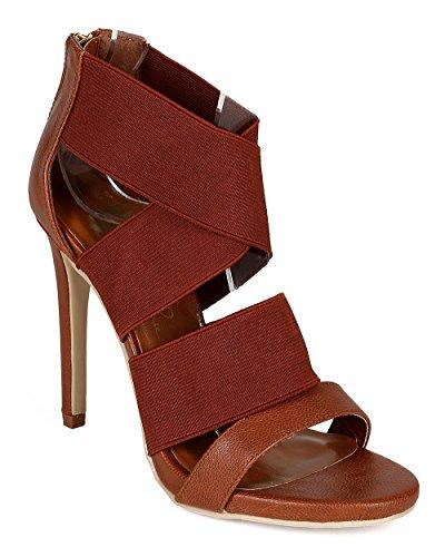 ワイルドローズca32レディースMixed Media Open Toe Elastic Strappy Stiletto Sandal – Cognac Leatherette