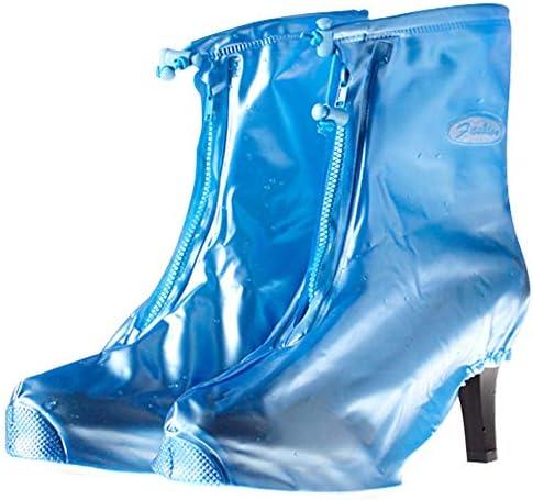 自転車靴カバー 雨の再利用可能な雨靴は、靴が足のレギンスの女性のハイヒールの靴のバイクの靴は、足のレギンスをカバーカバーカバー 防水レインブーツ (Color : Pink, Size : Medium)