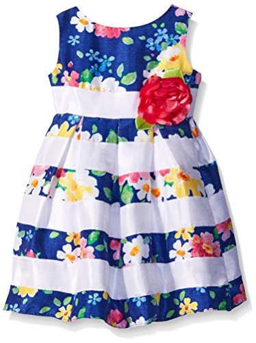 Sweet Heart Rose Little Girls Striped Floral Shantung Dress, Blue/Multi, -
