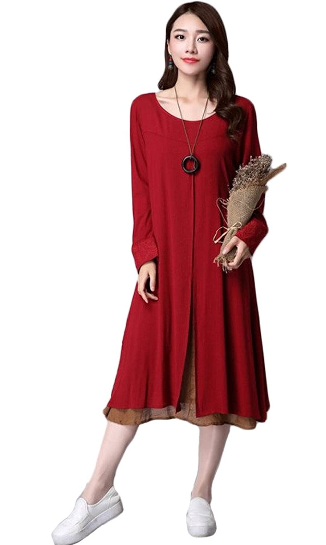 Vogstyle Damen Frühjahr Rundhalsausschnitt Langarm Kleid