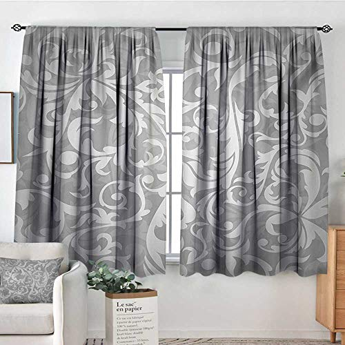 Silver Room Darkening Curtains Victorian Style Large Leaf Floral Pattern Swirl Classic Abstract French Vintage Print Decorative Curtains for Living Room 72