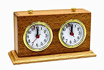 Apex Chess Analog Timer Wooden Professional Clock: Wood Base & Mechanical Wind-Up Movement
