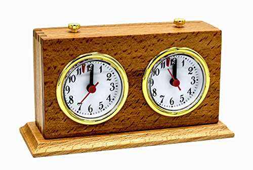 - Apex Chess Clock Timer: Mechanical Analog Wind-Up & Wood Base